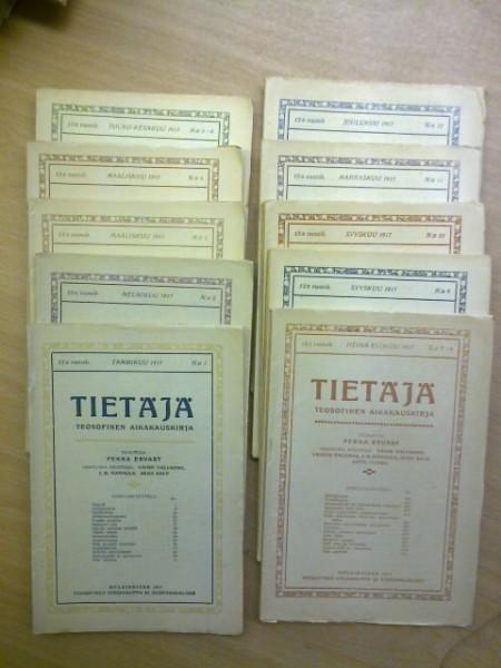Tietäjä teosofinen aikakauskirja 1917 N:o 1-12 (kaksoisnumerot 5-6 ja 7-8), Pekka Ervast