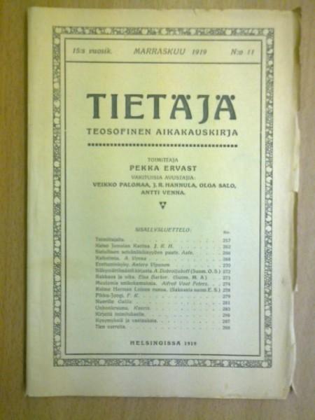 Tietäjä teosofinen aikakauskirja 1919 N:o 11, Pekka Ervast