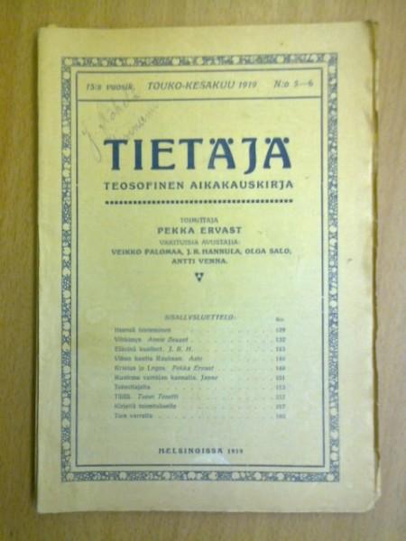 Tietäjä teosofinen aikakauskirja 1919 N:o 5-6, Pekka Ervast