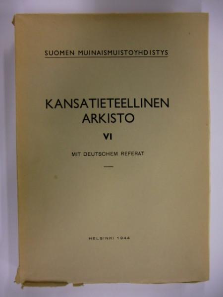 Kansantieteellinen arkisto VI - Länsi-Suomen yhteismyllyt, Esko Aaltonen