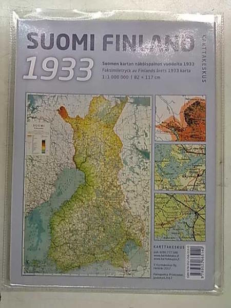 Suomi 1933 Finland. Suomen kartan näköispainos vuodelta 1933. 1:1.000.000 82x117cm,