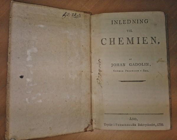 Inledning till Chemien, af Johan Gadolin, Chemie Professor i Åbo, Johan Gadolin