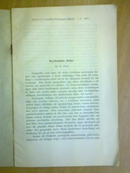 Nyländska dalar (Aftryck ur Geografiska Föreningens tidskrift. 1-6. 1897), Hult R.