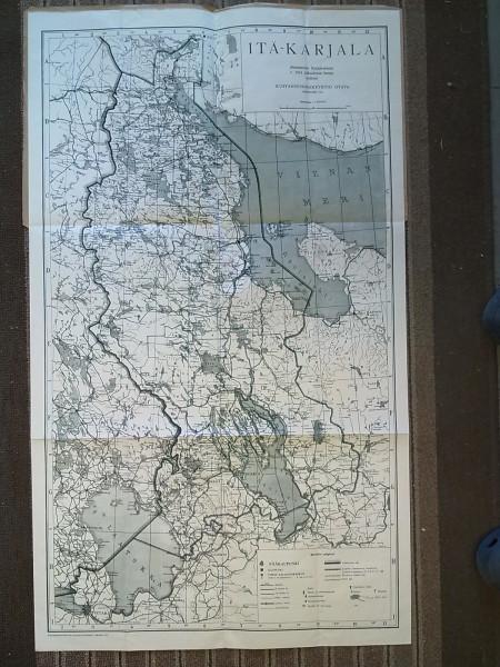 Itä-Karjalan kartta 1941 1:1.000.000 Akateemisen Karjala-Seuran v. 1934 julkaiseman kartan mukaan painettu 1941 (56,5 cm x 96 cm),
