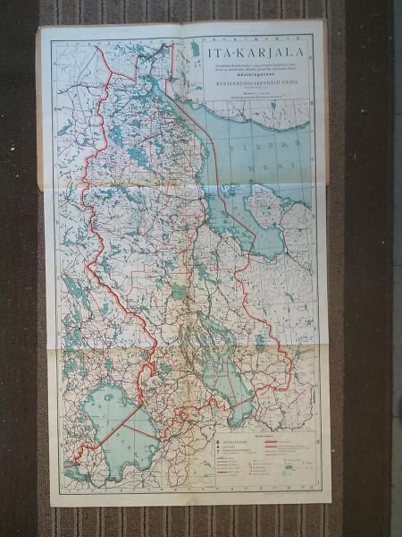 Itä-Karjalan kartta 1941 1:1.000.000 Akateemisen Karjala-Seuran v. 1934 julkaiseman kartan mukaan painettu KOLMIVÄRIPAINOS lokakuussa 1941 (56,5 cm x 96 cm),
