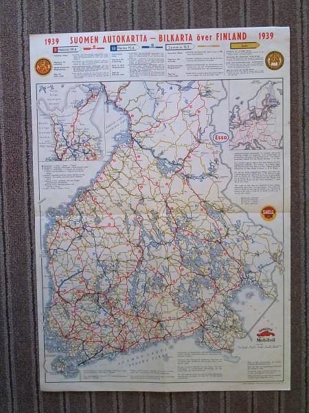 Suomen autokartta 1939 Bilkarta över Finland (42 cm x 59 cm),