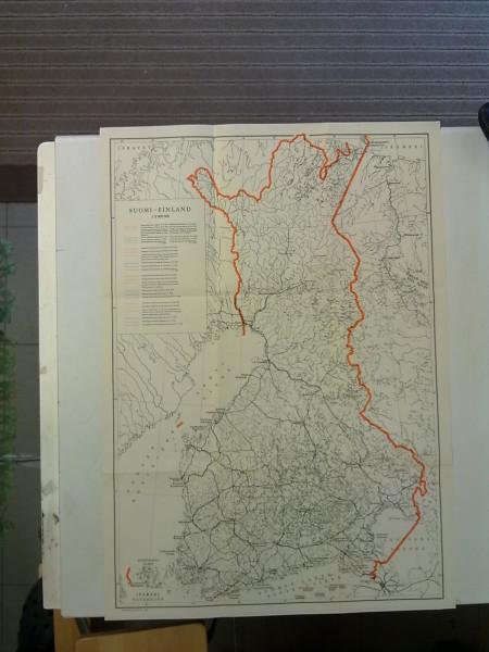Suomi 1940 Finland seinäkartta. Talvisotaa edeltäneet rajaehdotukset (43 cm x 61 cm),