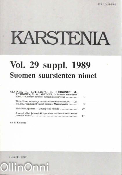 Karstenia Vol. 29 suppl. 1989 - Suomen suursienten nimet, Useita