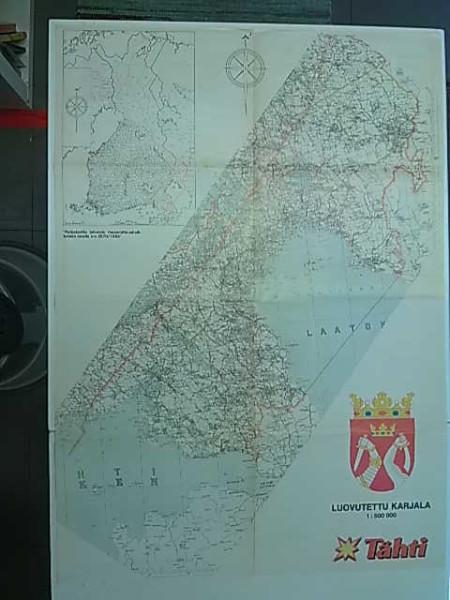 Luovutettu Karjala 1:500.000 Tähti-lehden liite (lev. 58cm x kork. 82cm),