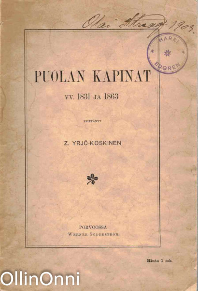 Puolan kapinat vv. 1831 ja 1863, Z. Yrjö-Koskinen