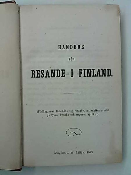 Handbok för resande i Finland, J. W. Lillja