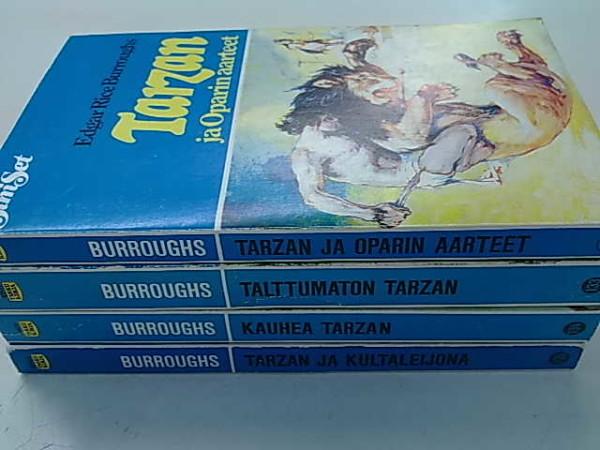 Pieni Tarzan-paketti. Tarzan ja Oparin aarteet. Talttumaton Tarzan. Kauhea Tarzan. Tarzan ja kultaleijona. SiniSet sarjan nrot 131, 133, 134, 135., Edgar Rice Burroughs