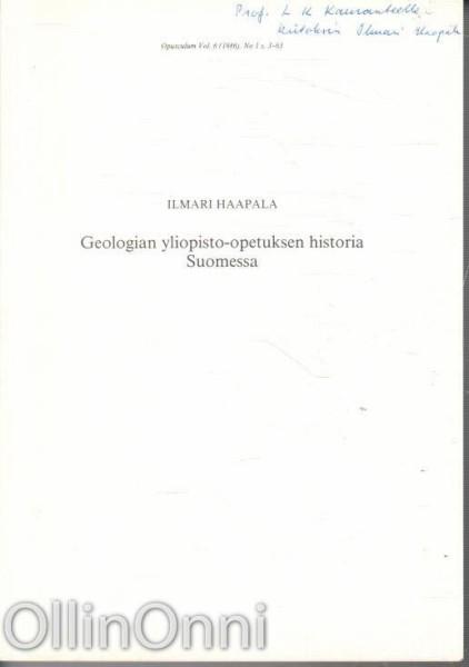 Geologian yliopisto-opetuksen historia Suomessa, Ilmari Haapala